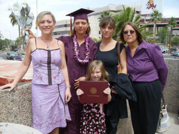Dorothy, graduate Karen, Jennifer, Mary; granddaughter Cailey in front.
